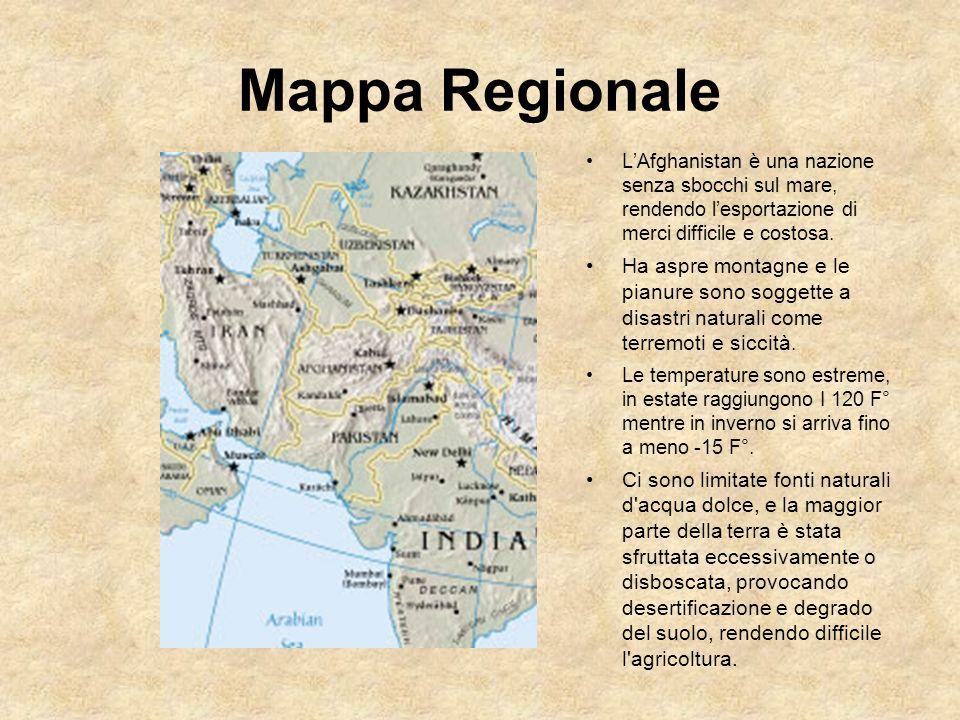 Mappa Regionale L'Afghanistan è una nazione senza sbocchi sul mare, rendendo l'esportazione di merci difficile e costosa.