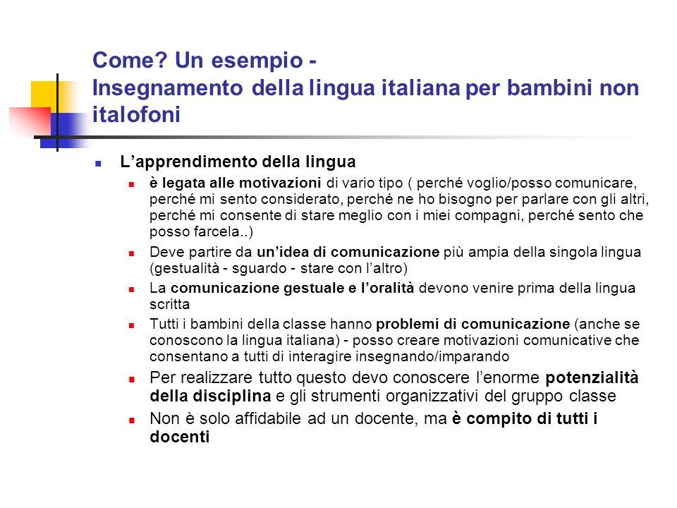 Come Un esempio - Insegnamento della lingua italiana per bambini non italofoni