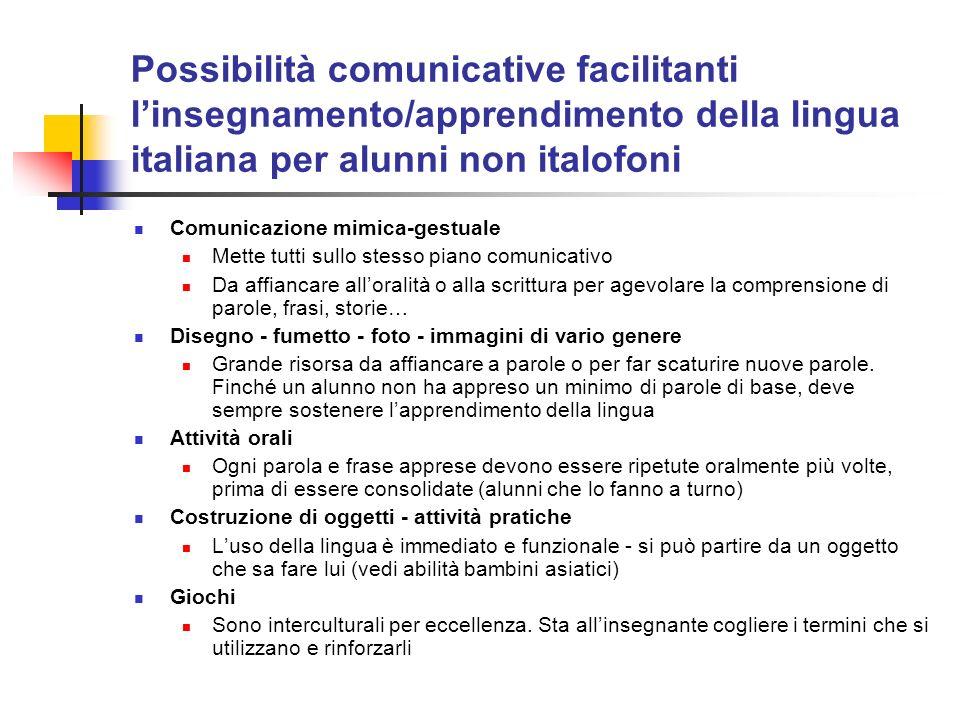 Possibilità comunicative facilitanti l'insegnamento/apprendimento della lingua italiana per alunni non italofoni