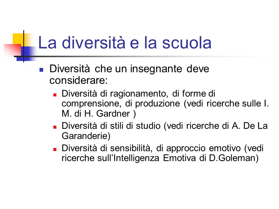 La diversità e la scuola