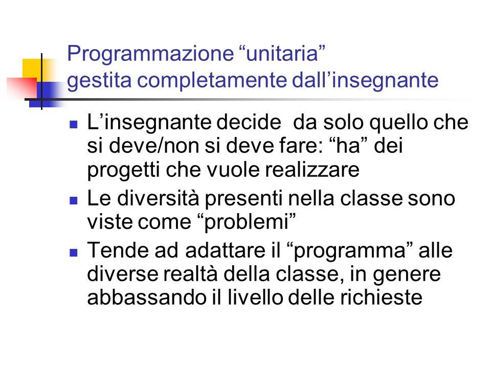 Programmazione unitaria gestita completamente dall'insegnante