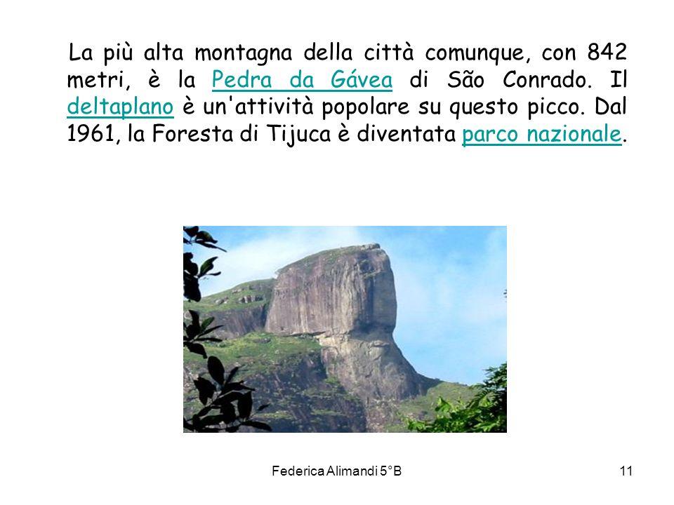 La più alta montagna della città comunque, con 842 metri, è la Pedra da Gávea di São Conrado. Il deltaplano è un attività popolare su questo picco. Dal 1961, la Foresta di Tijuca è diventata parco nazionale.