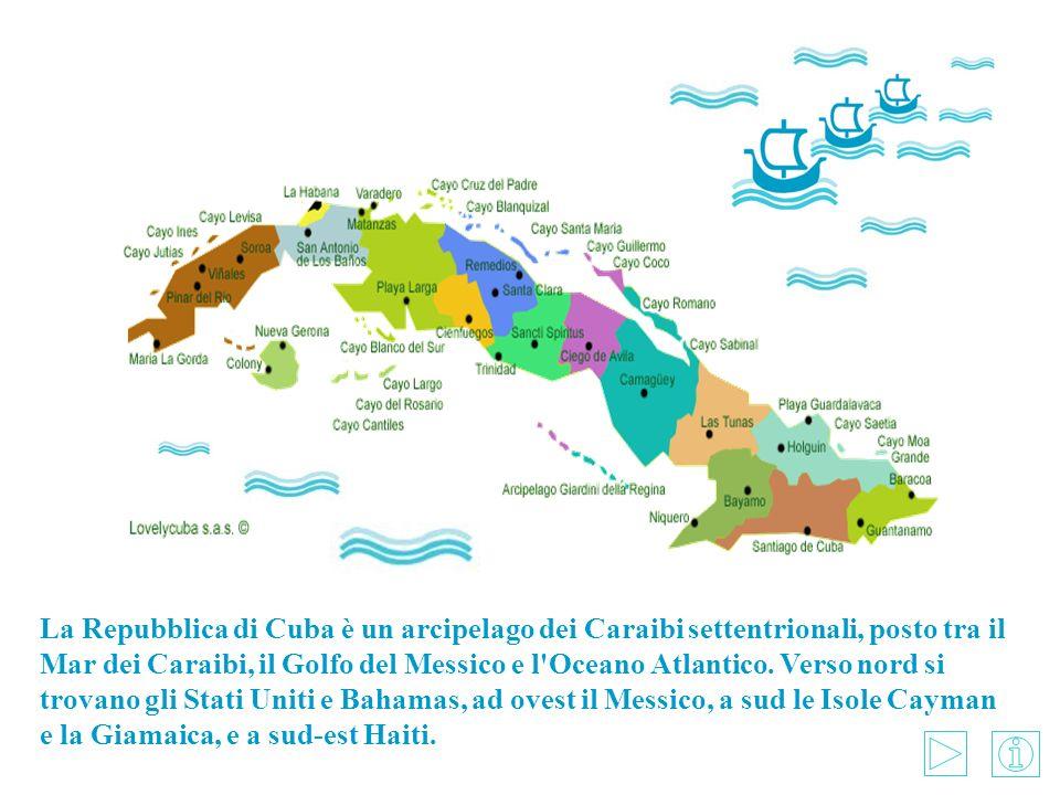 La Repubblica di Cuba è un arcipelago dei Caraibi settentrionali, posto tra il Mar dei Caraibi, il Golfo del Messico e l Oceano Atlantico.
