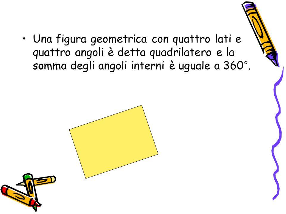 Una figura geometrica con quattro lati e quattro angoli è detta quadrilatero e la somma degli angoli interni è uguale a 360°.