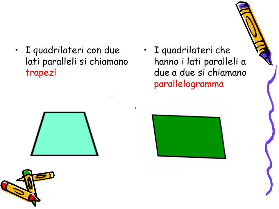 I quadrilateri con due lati paralleli si chiamano trapezi