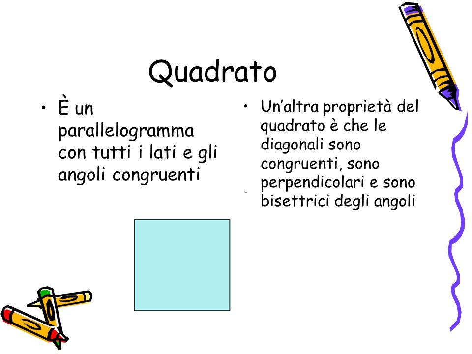 Quadrato È un parallelogramma con tutti i lati e gli angoli congruenti