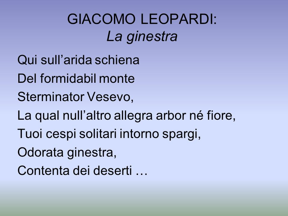GIACOMO LEOPARDI: La ginestra