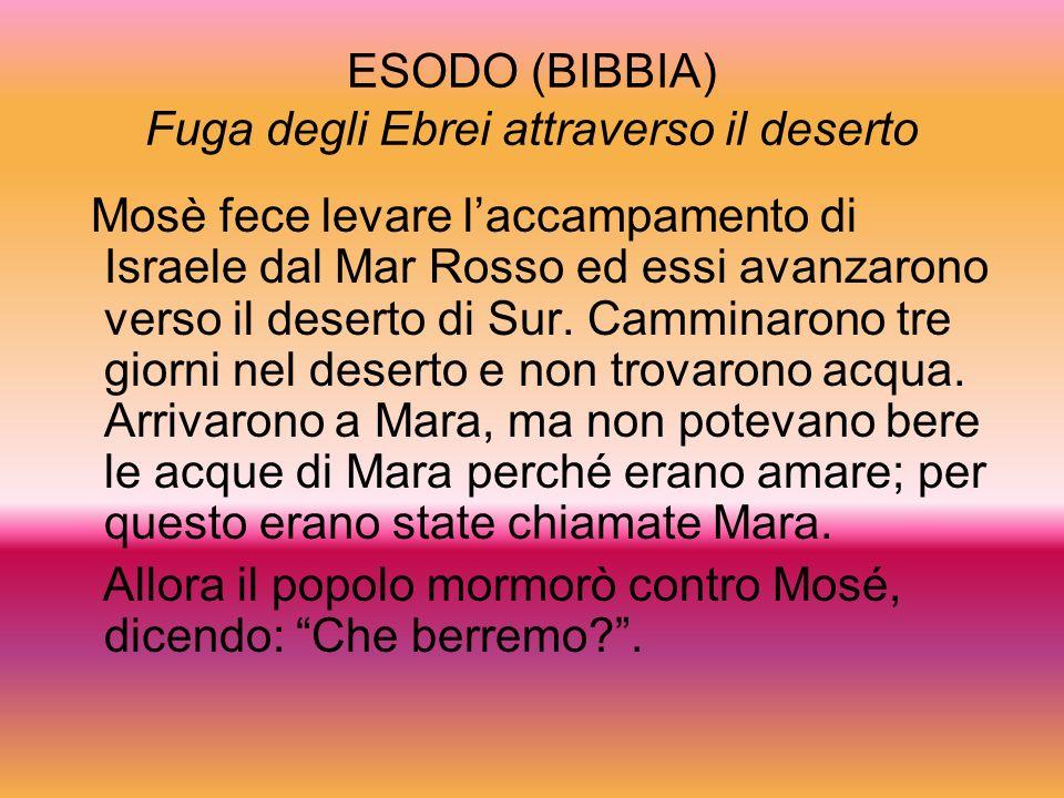 ESODO (BIBBIA) Fuga degli Ebrei attraverso il deserto