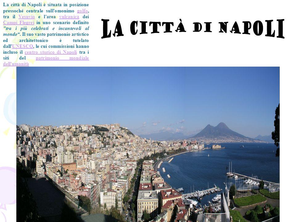 La città di Napoli è situata in posizione pressoché centrale sull omonimo golfo, tra il Vesuvio e l area vulcanica dei Campi Flegrei in uno scenario definito tra i più celebrati e incantevoli al mondo . Il suo vasto patrimonio artistico ed architettonico è tutelato dall UNESCO, le cui commissioni hanno incluso il centro storico di Napoli tra i siti del patrimonio mondiale dell umanità