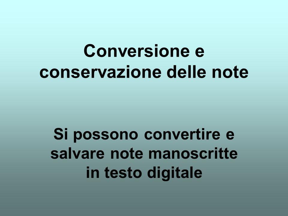 Conversione e conservazione delle note