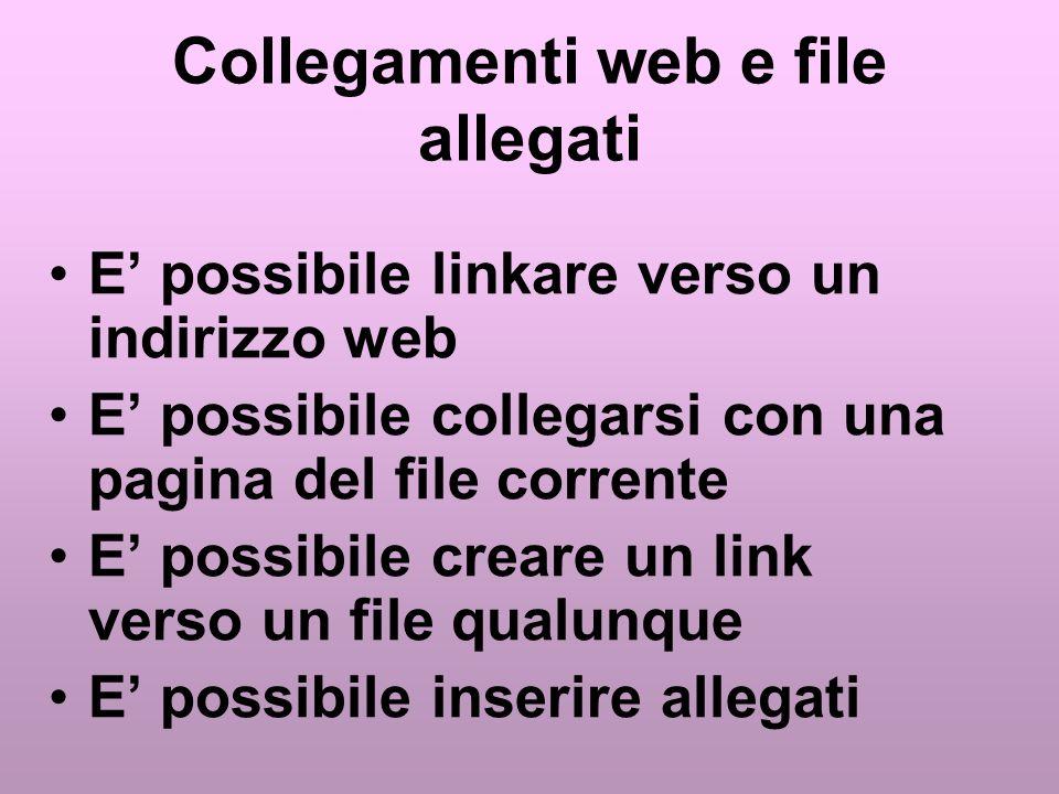 Collegamenti web e file allegati