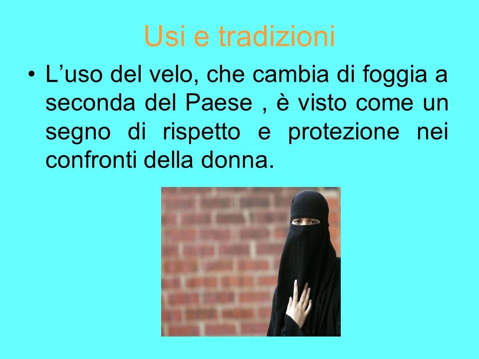 Usi e tradizioni L'uso del velo, che cambia di foggia a seconda del Paese , è visto come un segno di rispetto e protezione nei confronti della donna.