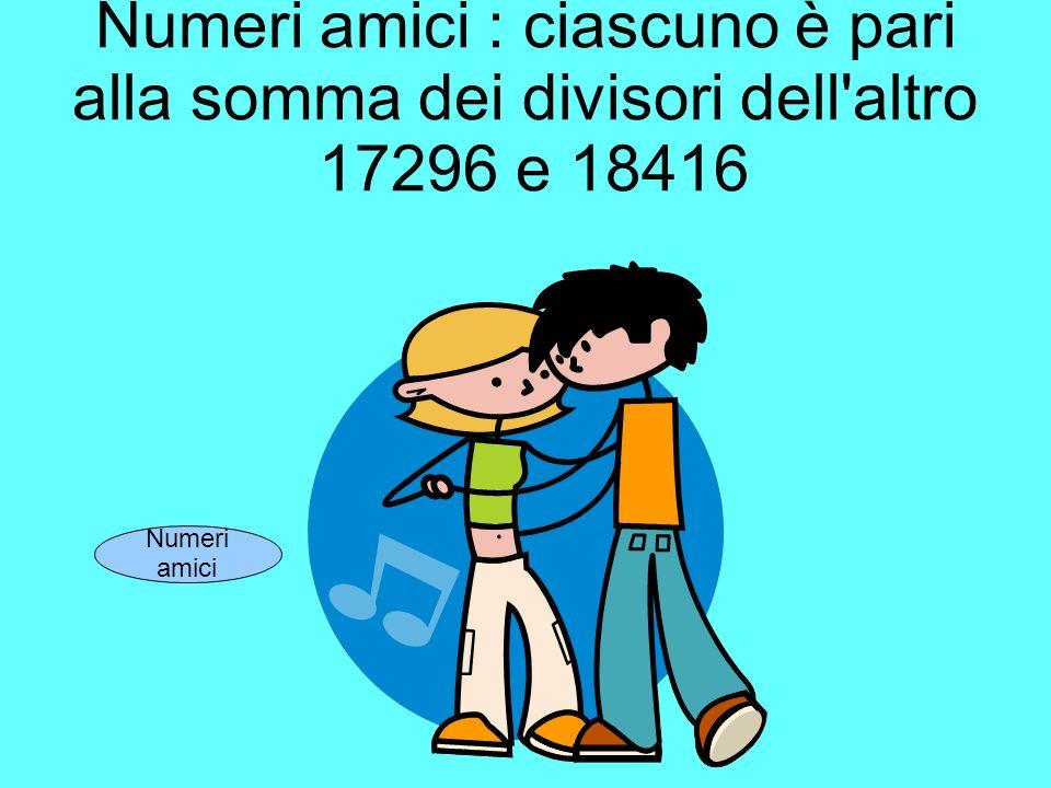 Numeri amici : ciascuno è pari alla somma dei divisori dell altro 17296 e 18416