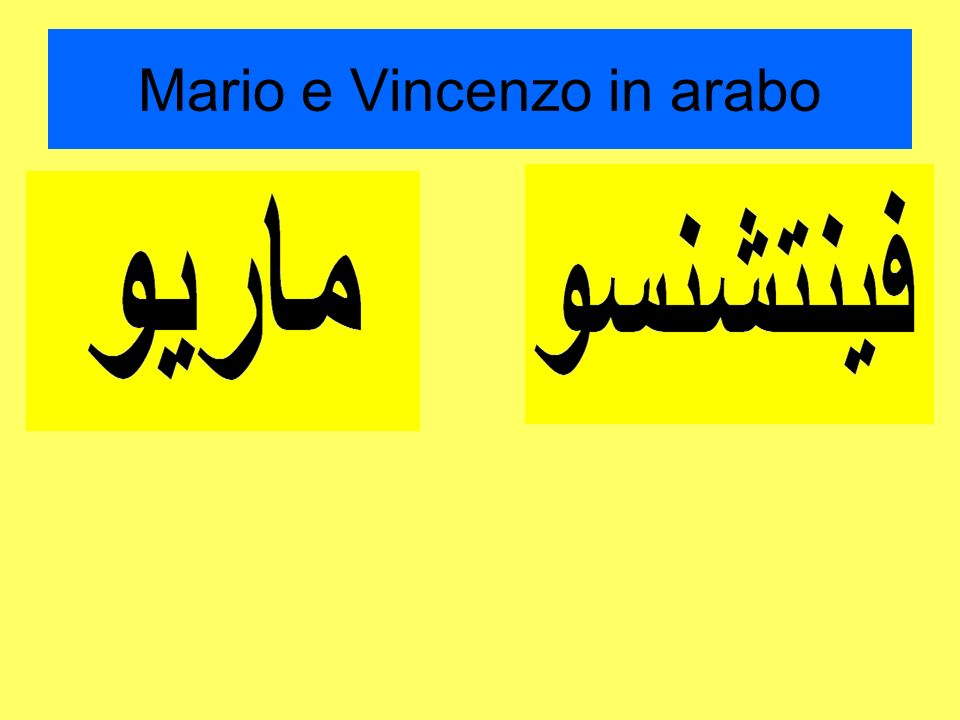 Mario e Vincenzo in arabo