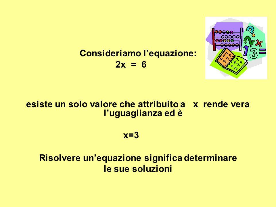 Consideriamo l'equazione: 2x = 6