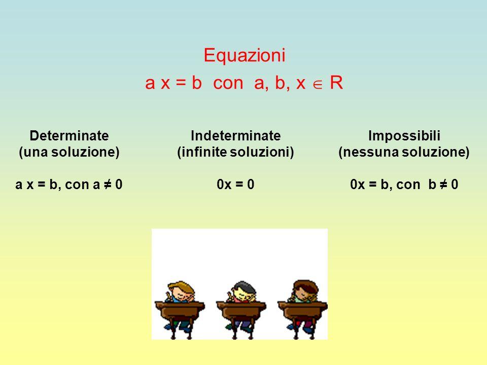 Equazioni a x = b con a, b, x  R Determinate (una soluzione)