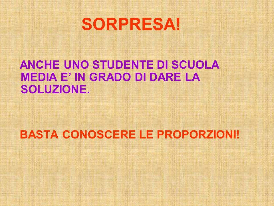 SORPRESA. ANCHE UNO STUDENTE DI SCUOLA MEDIA E' IN GRADO DI DARE LA SOLUZIONE.