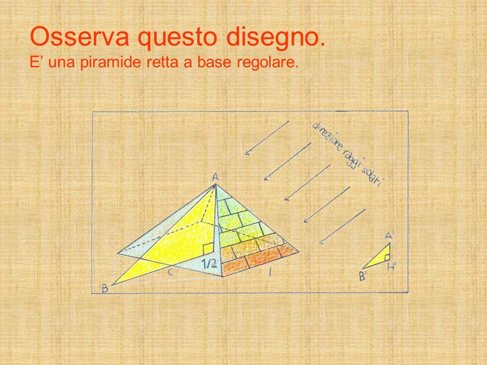 Osserva questo disegno. E' una piramide retta a base regolare.