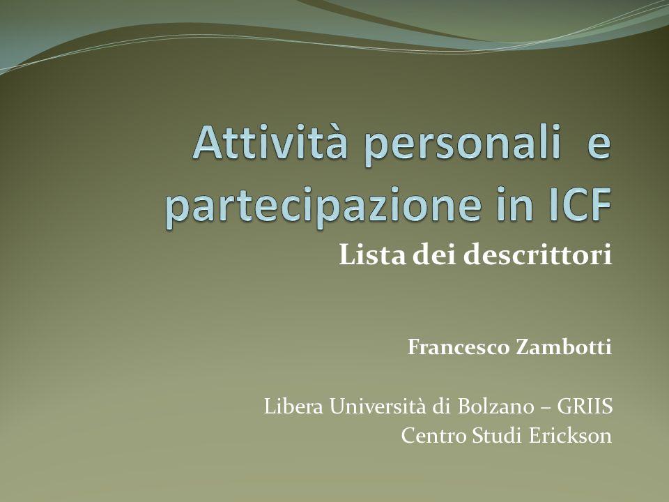 Attività personali e partecipazione in ICF