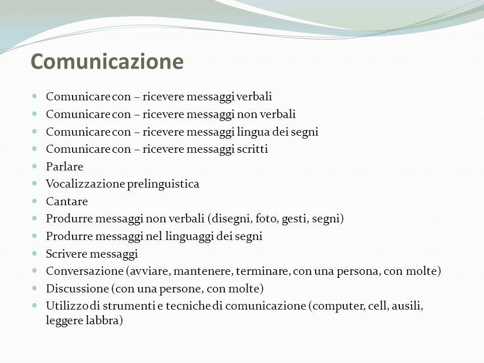 Comunicazione Comunicare con – ricevere messaggi verbali