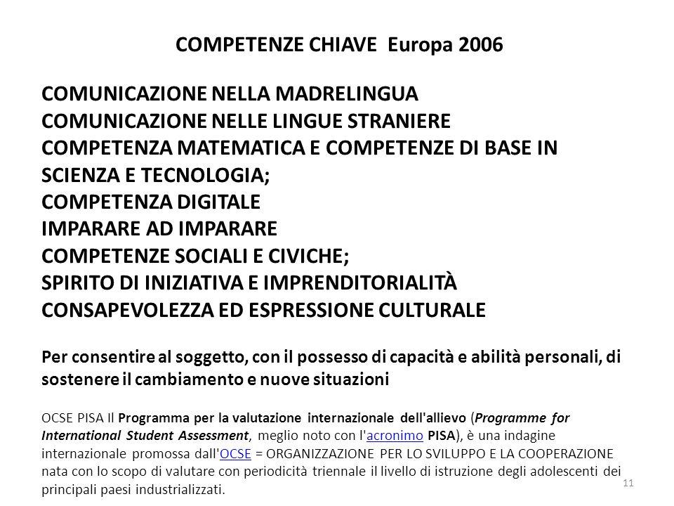 COMPETENZE CHIAVE Europa 2006