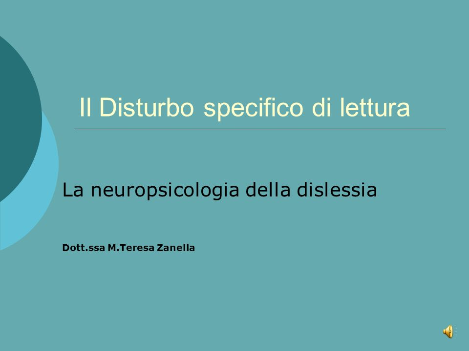 Il Disturbo specifico di lettura
