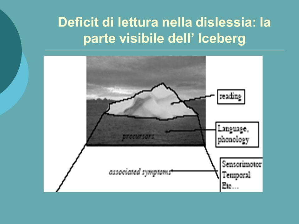 Deficit di lettura nella dislessia: la parte visibile dell' Iceberg