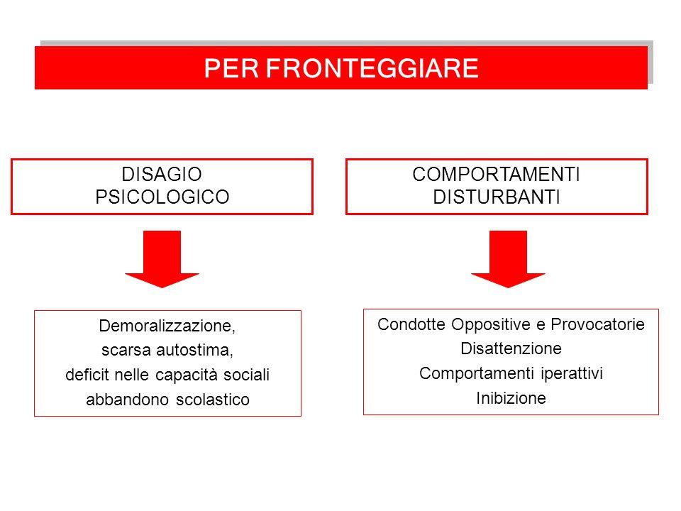 PER FRONTEGGIARE DISAGIO PSICOLOGICO COMPORTAMENTI DISTURBANTI