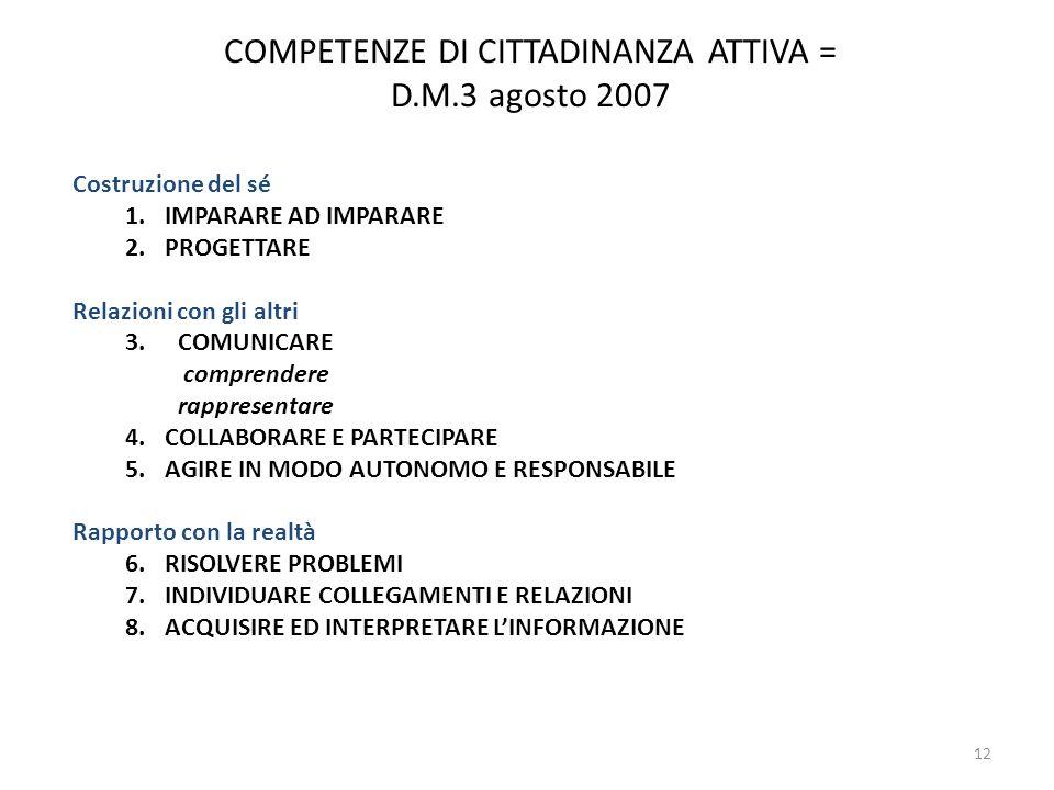 COMPETENZE DI CITTADINANZA ATTIVA = D.M.3 agosto 2007
