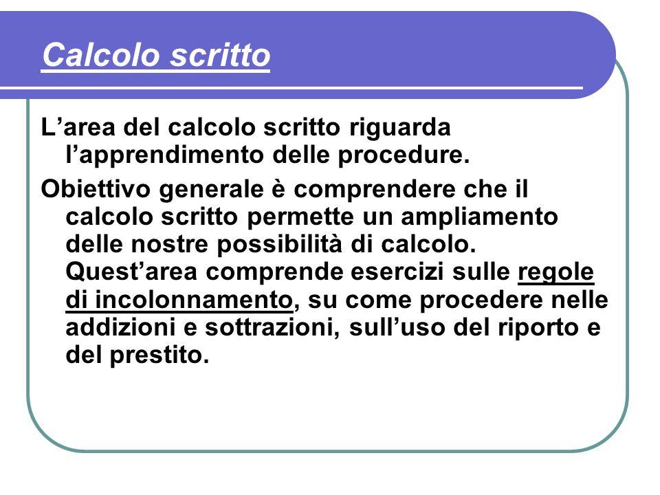 Calcolo scritto L'area del calcolo scritto riguarda l'apprendimento delle procedure.