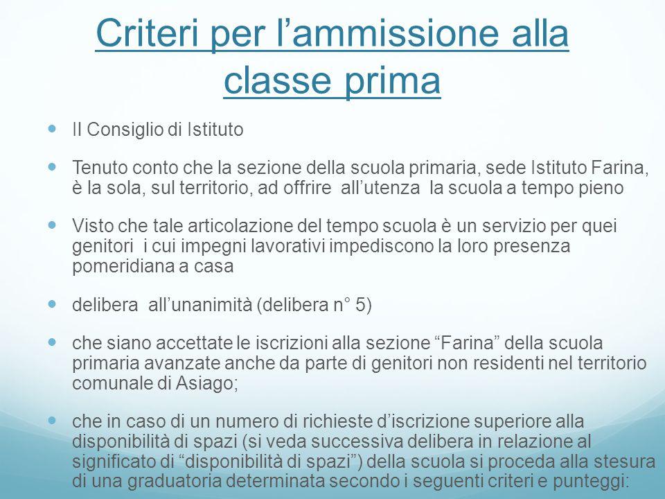 Criteri per l'ammissione alla classe prima
