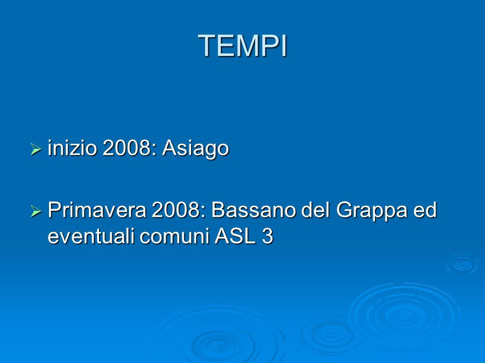 TEMPI inizio 2008: Asiago Primavera 2008: Bassano del Grappa ed eventuali comuni ASL 3