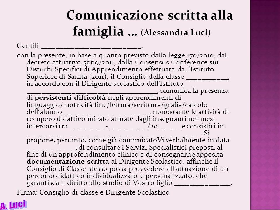 Comunicazione scritta alla famiglia … (Alessandra Luci)