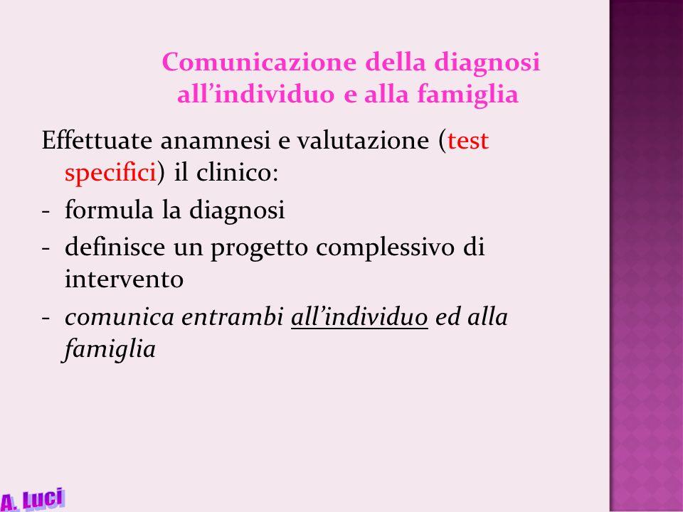 Comunicazione della diagnosi all'individuo e alla famiglia
