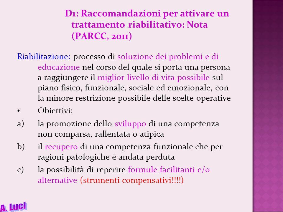 D1: Raccomandazioni per attivare un trattamento riabilitativo: Nota (PARCC, 2011)