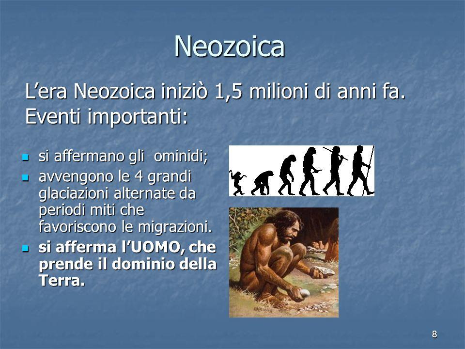 Neozoica L'era Neozoica iniziò 1,5 milioni di anni fa. Eventi importanti: si affermano gli ominidi;