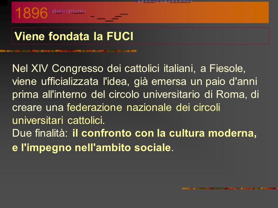 1896 Viene fondata la FUCI.