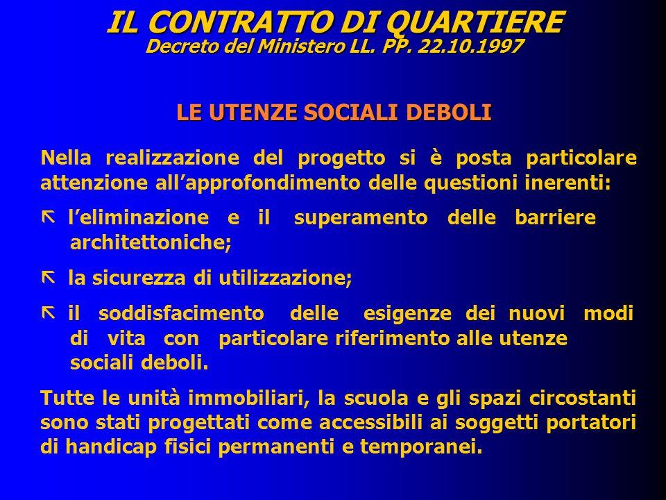 IL CONTRATTO DI QUARTIERE Decreto del Ministero LL. PP. 22.10.1997