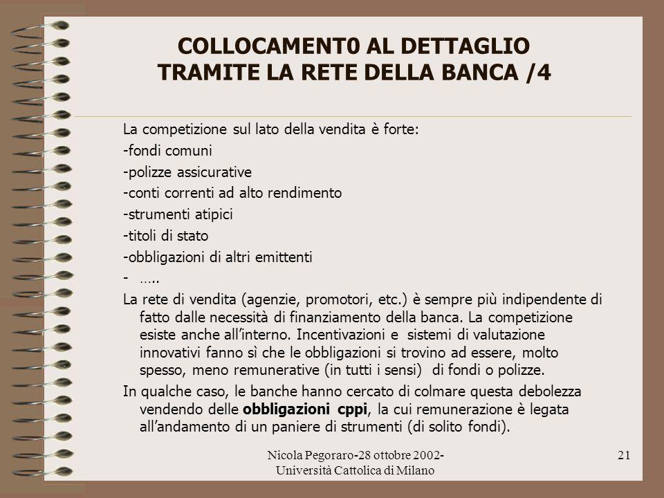 COLLOCAMENT0 AL DETTAGLIO TRAMITE LA RETE DELLA BANCA /4