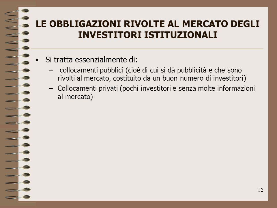 LE OBBLIGAZIONI RIVOLTE AL MERCATO DEGLI INVESTITORI ISTITUZIONALI