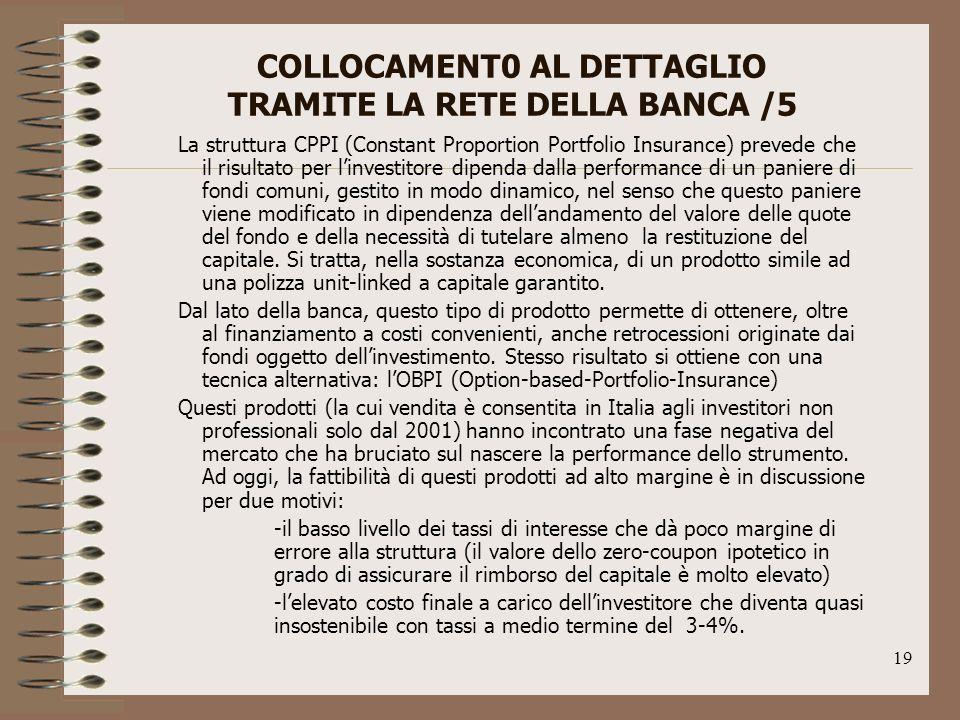 COLLOCAMENT0 AL DETTAGLIO TRAMITE LA RETE DELLA BANCA /5