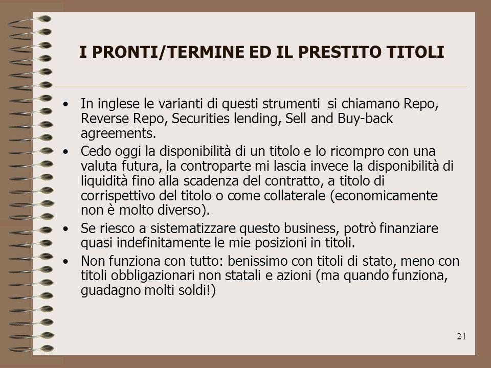 I PRONTI/TERMINE ED IL PRESTITO TITOLI