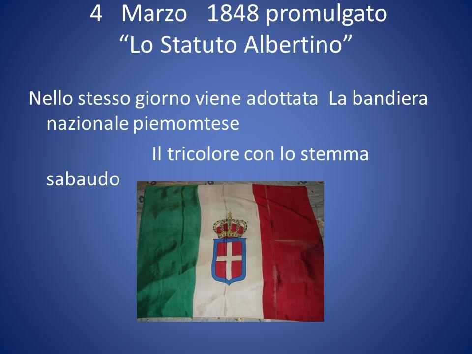 4 Marzo 1848 promulgato Lo Statuto Albertino