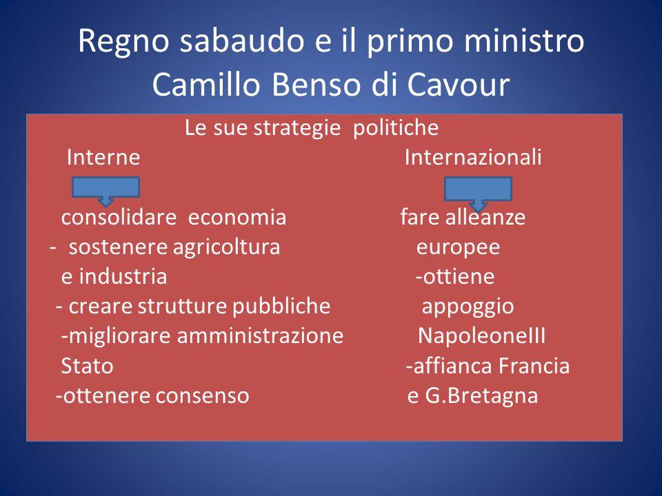 Regno sabaudo e il primo ministro Camillo Benso di Cavour
