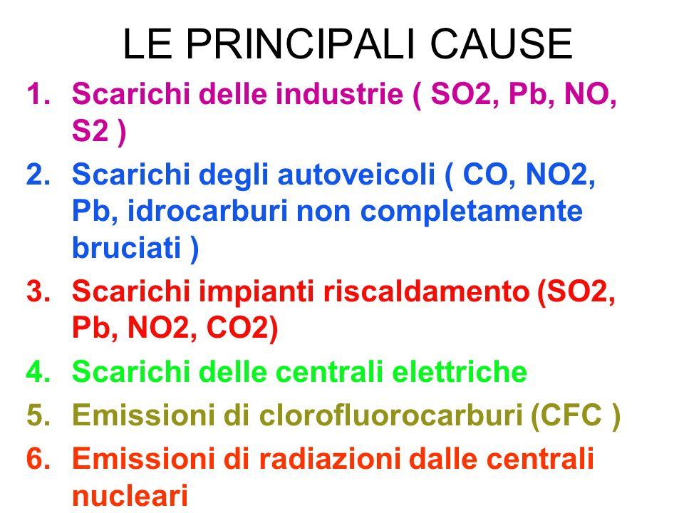 LE PRINCIPALI CAUSE Scarichi delle industrie ( SO2, Pb, NO, S2 )
