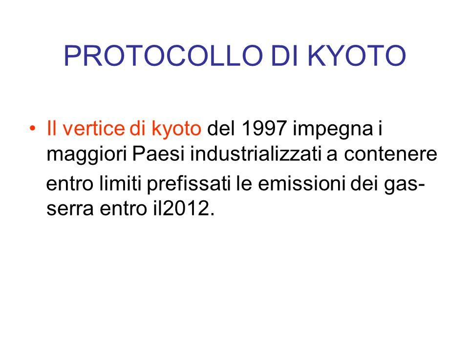 PROTOCOLLO DI KYOTOIl vertice di kyoto del 1997 impegna i maggiori Paesi industrializzati a contenere.