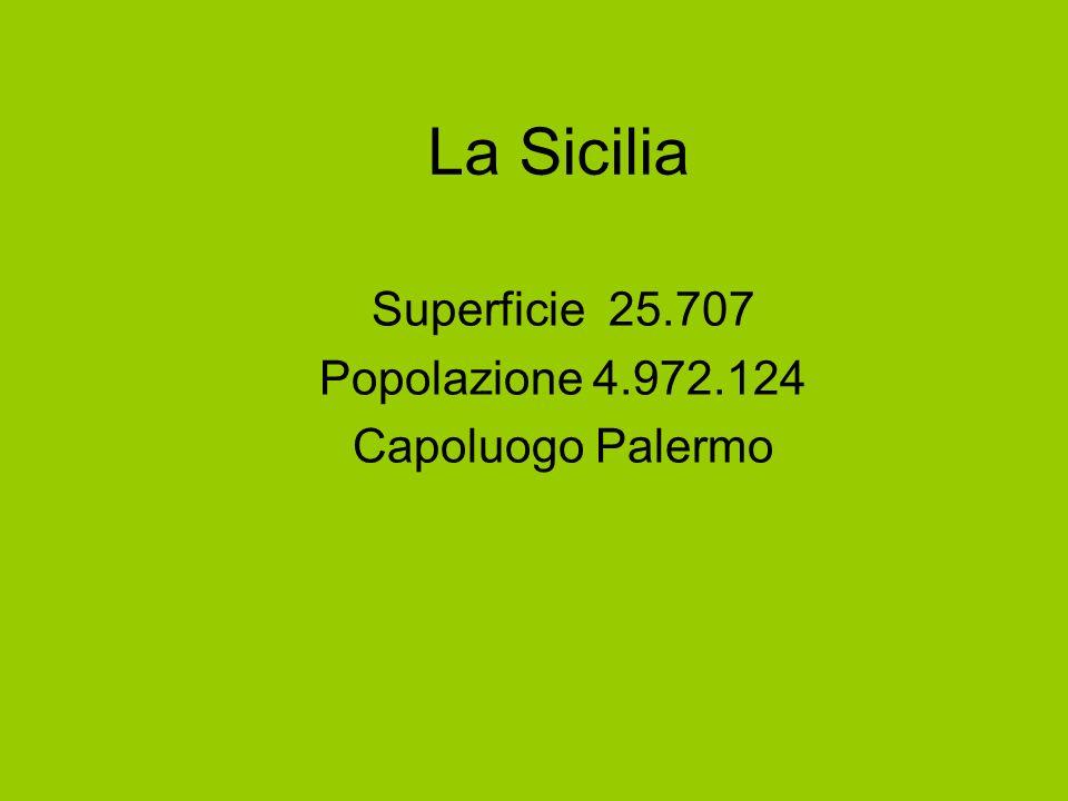 Superficie 25.707 Popolazione 4.972.124 Capoluogo Palermo