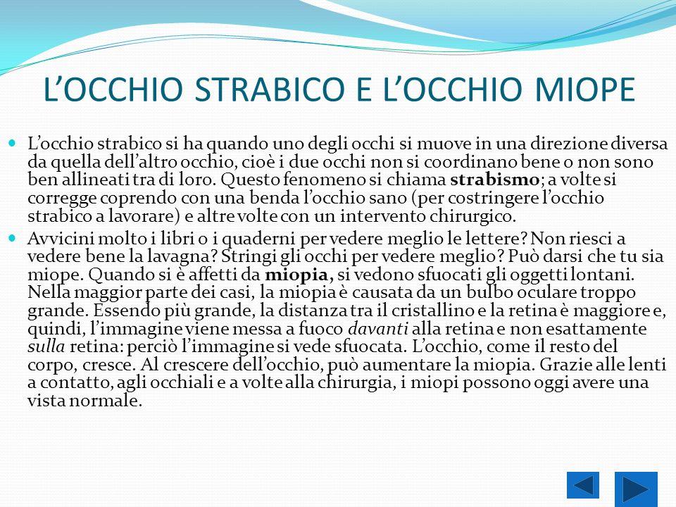 L'OCCHIO STRABICO E L'OCCHIO MIOPE