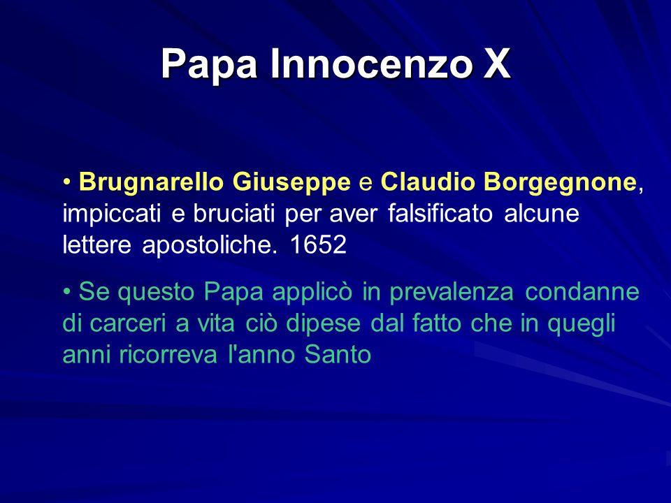 Papa Innocenzo X Brugnarello Giuseppe e Claudio Borgegnone, impiccati e bruciati per aver falsificato alcune lettere apostoliche. 1652.
