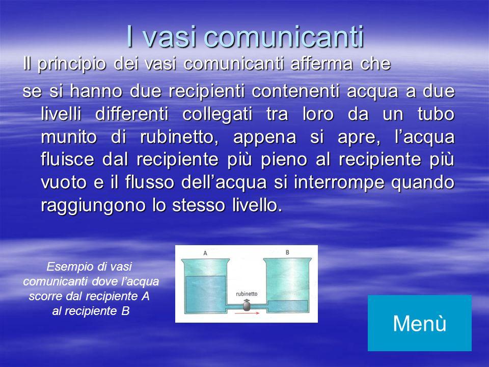 I vasi comunicanti Menù Il principio dei vasi comunicanti afferma che
